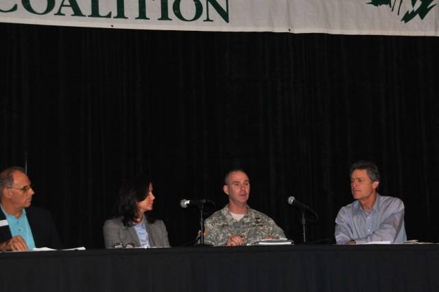 "U.S. Army Corps of Engineers Jacksonville District Commander Col. Alan Dodd spoke on the ""Where is all the Water Coming From? A Coastal Perspective on Solutions for Water Management in the Northern Everglades and Lake Okeechobee"" panel   Jan. 11, 2014, at the Everglades Coalition Conference in Naples, Fla.  Also serving on the panel were (from left) Mark Perry of the Florida Oceanographic Society, state Sen. Lizbeth Benacquisto, (not pictured) South Florida Water Management District Governing Board Member Mitch Hutchcraft and Drew Bartlett of the Florida Department of Environmental Protection. Eric Draper (right) from Audubon of Florida moderated the panel."