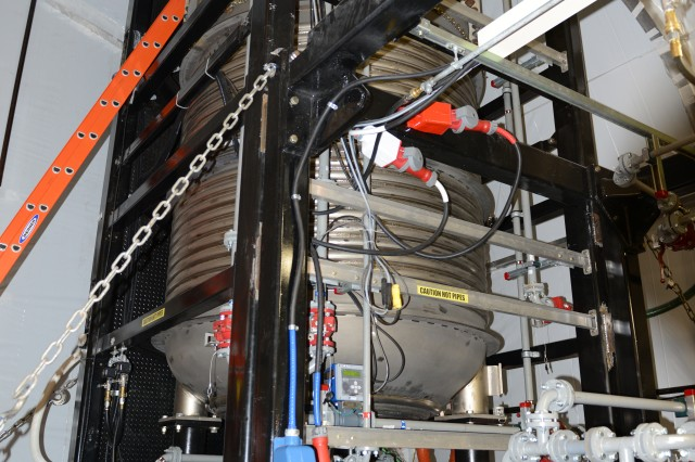 Two of these Field Deployable Hydrolysis Systems are now installed on the MV Cape Ray, a nearly 650-foot-long ship now in Portsmouth, Va. The Field Deployable Hydrolysis System is designed to neutralize chemical weapons. Each $5 million system can, depending on the material, process between five to 25 metric tons of material a day. With two systems, that means as much as 50 metric tons a day of chemical warfare agents can be destroyed. The mission requires disposal of 700 metric tons of material.