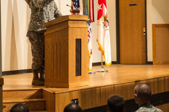Army Chief of Staff Gen. Raymond Odierno stands before a packed auditorium, speaking about the Army and answering Soldiers' questions, during Odierno's visit to Fort Leonard Wood, Mo., Jan. 13, 2014.
