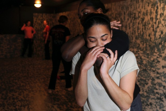 Sgt. Katherine Dotel, front, and Sgt. Lakeisha Durrah, rear, both assigned to the 441st Military Intelligence Battalion, practice self-defense techniques during Rape Aggression Defense training held Jan. 13 at Camp Zama, Japan.
