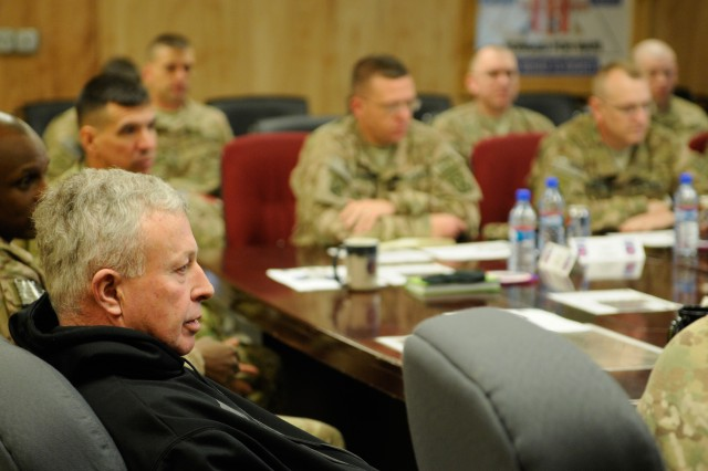 "LAGHMAN PROVINCE, Afghanistan "" U.S. Army Gen.(R) David McKiernan, advisor to the Army Chief of Staff, receives a brief from 4th Brigade Combat Team, 10th Mountain Division, Task Force Patriot's leadership, Jan. 12, 2014 at Forward Operating Base Gamberi, on the unit's mission as a Security Force Assistance Brigade and what future SFABs can expect. (U.S. Army Photo by Sgt. Eric Provost, Task Force Patriot PAO)"
