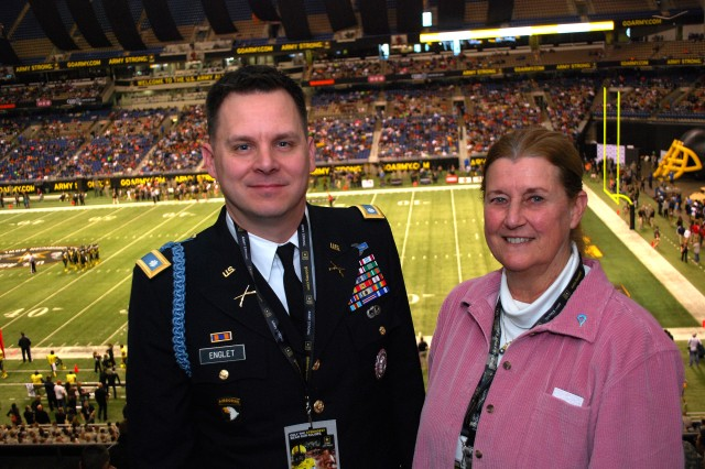 Lt. Col. Lance Englet and Dr. Kathryn Scott in San Antonio at the 2014 Army All-American Bowl. Scott was in San Antonio to gather with other community leaders and educators to discuss advocacy ideas for Army ROTC.