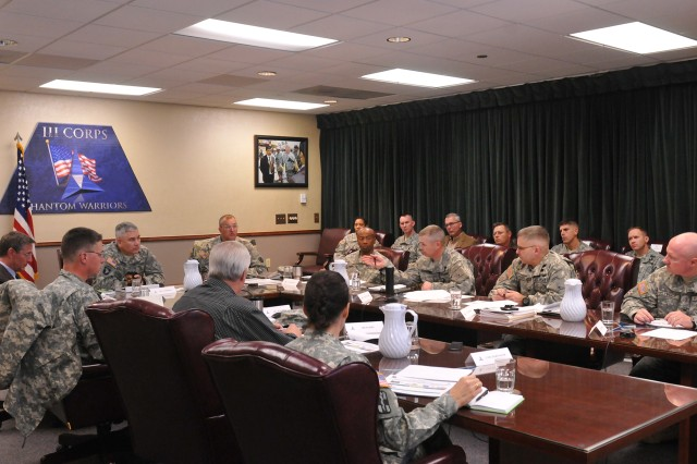Gen. John Campbell (head of the table), vice chief of staff of the Army, meets with senior commanders, Jan. 6, 2014, in the III Corps Headquarters at Fort Hood, Texas.