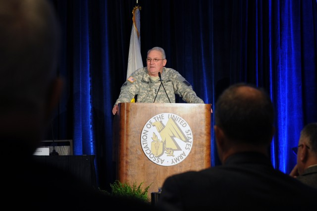 Lt. Gen. James O. Barclay III, Army G-8, addresses attendees at the AUSA Aviation Symposium & Exposition, Jan. 15, 2013, in Arlington, Va. Barclay didn't focus specifically on the aviation branch, but spoke about readiness, modernization and force structure into the future.