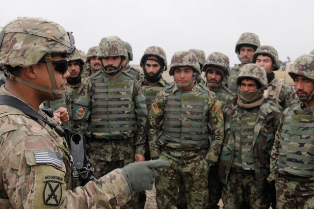 Staff Sgt. David Flores gives a safety briefing to his students in 4th Brigade, 201st Afghan National Army Corps, on the final day of their monthlong 60 mm mortar system training course Jan. 8 at Forward Operating Base Gamberi, Afghanistan. Flores serves as a mortar system lead trainer with 2nd Battalion, 30th Infantry Regiment, 4th Brigade Combat Team, 10th Mountain Division (LI), Task Force Patriot. The ability to effectively engage the enemies of Afghanistan with indirect mortar fire will serve the Afghan National Army when securing their country during the upcoming presidential elections.