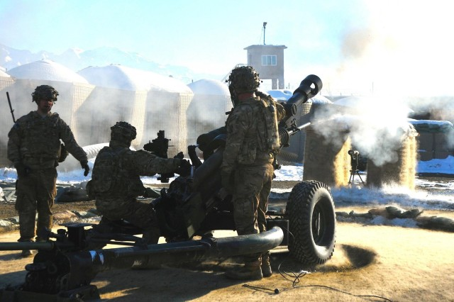 Soldiers of 1st Platoon, Battery A, 4th Battalion 25th Field Artillery Regiment, 3rd Brigade Combat Team, 10th Mountain Division conducted a live fire exercise Jan. 15 on their M119 and M777 howitzers. The soldiers shown here are firing their M119 howitzer to ensure the weapon system is calibrated. The 4th Battalion, 25th Field Artillery Regiment is deployed to Afghanistan with the 3rd Brigade Combat Team as part of their advise and assist mission in support of Operation Enduring Freedom.