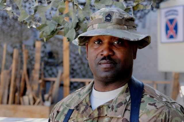 """LAGHMAN PROVINCE, Afghanistan """" All these years later, Dr. Martin Luther King Jr.'s iconic 'I have a dream' speech still resonates with Americans from all walks of life. U.S. Army Master Sgt. Ronnie Rooks, food service noncommisioned officer in charge, 4th Brigade Combat Team, 10th Mountain Division, Task Force Patriot, says """"the United States has started coming together as one, as 'United' states instead of this race or that race and I see that now a lot more than the days when I was growing up."""" (U.S. Army Photo by Sgt. Eric Provost, Task Force Patriot PAO)"""
