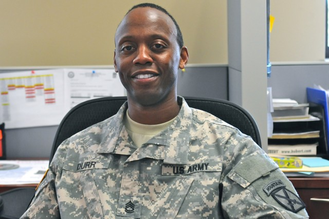"""FORT POLK, LA """" """"Dr. King's dream was about a desire for equality and unity across the [United States]. If we take that equality and unity for granted we may find the dangers of losing them."""" said Sgt. 1st Class Rolander Durr, Headquarters Company, 4th Brigade Special Troops Battalion,   4th Brigade Combat Team, 10th Mountain Division. (U.S. Army Photo by Sgt. David Edge, 4th BCT, 10th Mtn. Div. Public Affairs Office)"""