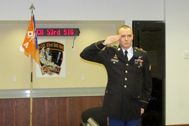Sgt. Kyler J. Colgrove salutes during the U.S. Army Space and Missile Defense Command/Army Forces Strategic Command's Sergeant Audie Murphy Club board in early January. Colgrove, who was inducted into the prestigious club for noncommissioned officers, serves as a team leader for 2nd Squadron, Company A, 53rd Signal Battalion.