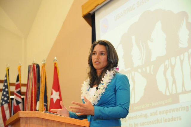 """ALIAMANU MILITARY RESERVATION, Hawaii """" Congresswoman Tulsi Gabbard, who represents Hawaii's second congressional district, spoke at the Sisters in Arms monthly meeting held at the Aliamanu Military Reservation Chapel, Jan. 21. Representative Gabbard is also a Captain in the Hawaii's National Guard 29th Brigade Combat Team. (U.S. Army photo by Staff Sgt. Kyle J. Richardson, USARPAC PAO)."""