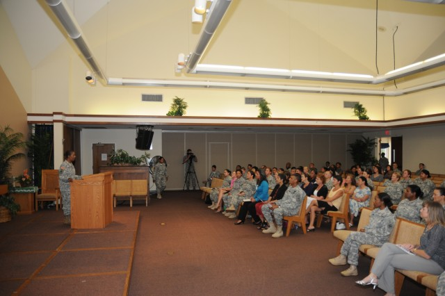 """ALIAMANU MILITARY RESERVATION, Hawaii """" Col. Brenda Andrews, a committee member of the Sisters in Arms program, addresses the audience during a special Sisters in Arms meeting held at the Aliamanu Military Reservation Chapel, Jan. 21. Congresswoman Tulsi Gabbard who represents Hawaii's second congressional district, addressed the crowd as the day's special guest speaker. The Sisters in Arms program has been in existence for nearly 120 days. (U.S. Army photo by Staff Sgt. Kyle J. Richardson, USARPAC PAO)."""