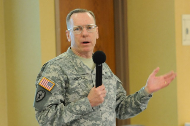Eighth Army Commanding General Lt. Gen. Bernard S. Champoux speaks at the Eighth Army conference in South Korea.