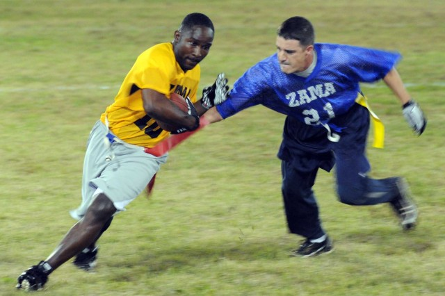 Flag football is one of the 27 intramural events held on Camp Zama throughout the year that make up the Commander's Cup season.
