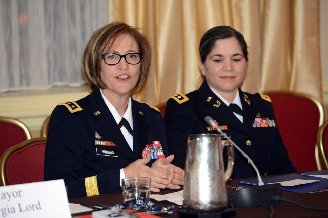 Surgeon General of the Army Lt. Gen. Patricia D. Horoho and Judge Advocate of the Army Lt. Gen. Flora D. Darpino