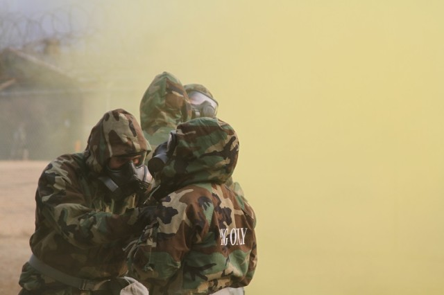 Air defenders practice chemical protection