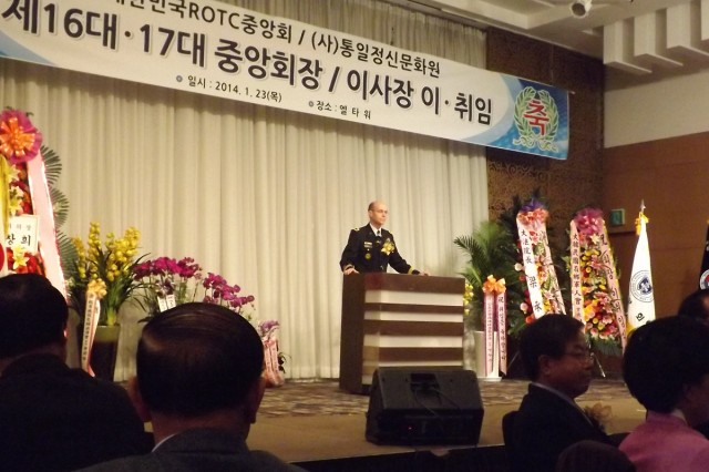 Eighth Army Deputy Commander for Sustainment Brig. Gen. Chris R. Gentry speaks at the Republic of Korea ROTC Association inauguration ceremony in Seoul, South Korea, Jan. 23, 2014.