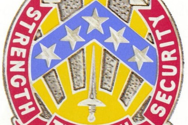 The distinctive unit insignia of the 112th MI Brigade, which is currently inactive.