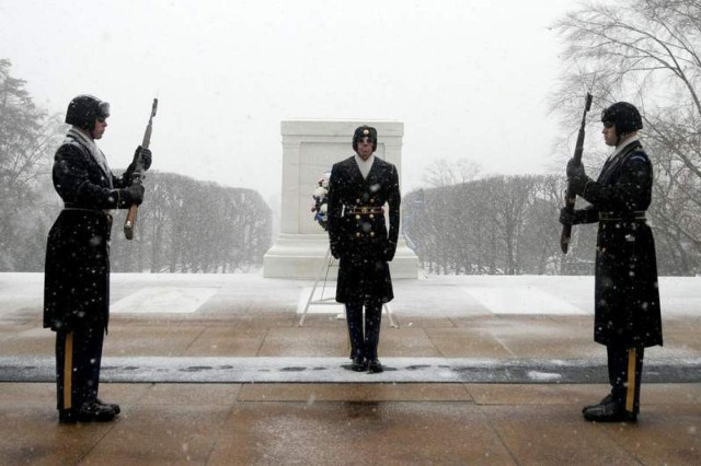 As winter storm Janus dumped several inches of snow on northern Virginia and Washington, D.C., on Jan. 14, the Tomb Sentinels of the 3d U.S. Infantry Regiment (The Old Guard) kept their watch over the Tomb of the Unknown Soldier.