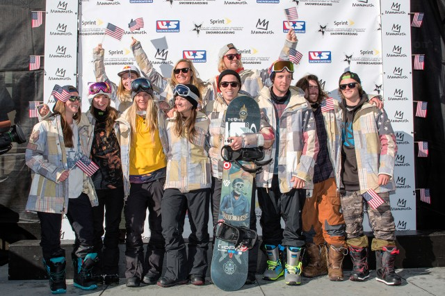 Members of the U.S. Olympic Snowboarding Team wear the new uniform jacket developed by Burton Snowboards.