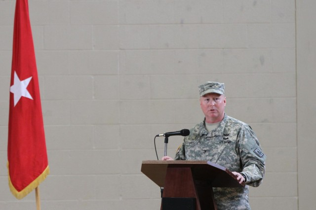 Col. Edward J. O'Neill, commander of the 108th Air Defense Artillery Brigade from Fort Bragg, N.C., speaks during a color casing ceremony for the 2nd Battalion, 44th Air Defense Artillery Regiment, Jan. 10, at Fort Campbell, Ky. The battalion took approximately 80 days to transform from an Avenger battalion to a Counter-Rocket, Artillery, and Mortar unit, with the capability to protect U.S. forces from indirect fire in Afghanistan. (U.S. Army photo by Sgt. Leejay Lockhart, 101st Sustainment Brigade Public Affairs)