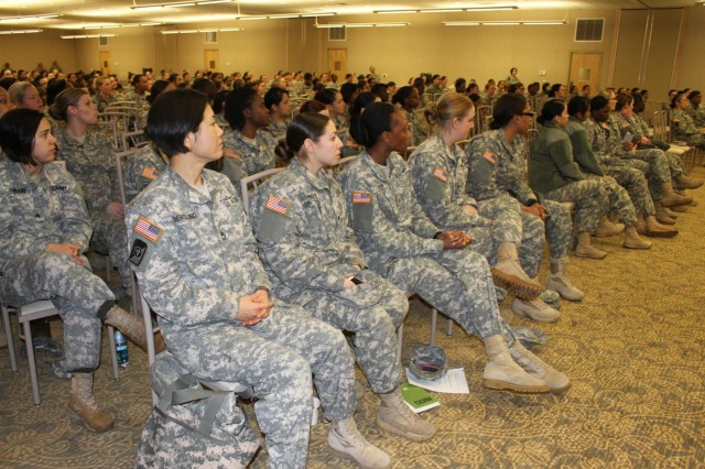 Seventh Infantry Division soldiers participate in the Sisters in Arms event at the American Lake Community Center at Joint Base Lewis-McChord, Jan. 7. The event was a forum to educate, train and mentor female soldiers on issues that are unique to them. (U.S. Army photo by Capt. Tania Donovan, 17th Fires Brigade Public Affairs)