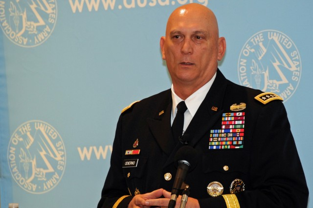 Army Chief of Staff Gen. Ray Odierno addresses members of the Association of the U.S. Army during its Jan. 23, 2014, breakfast series in Arlington, Va. The chief said despite cash flow and end-strength issues, the Army has not slowed its pace and continues to move toward a more expeditionary force.