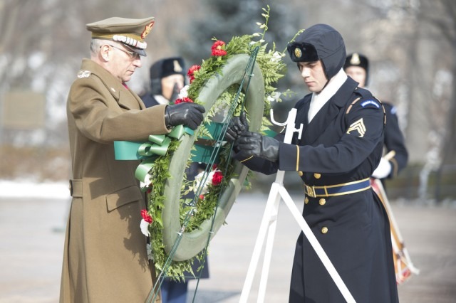 Italy's Army Chief of Staff, Gen. Claudio Graziano, takes part in a Wreath Laying Ceremony at the Tomb of the Unknown Soldier in Arlington National Cemetery, VA, Jan. 23, 2014. (U.S. Army photo by Staff Sgt. Steve Cortez/ Released)