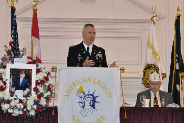 Arsenal Commander Col. Lee H. Schiller Jr. addresses hundreds of New York American Legion leaders at their Mid-Winter Conference.