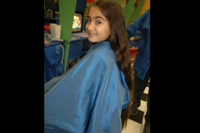 Karisia Torrales, 10, before her haircut Jan. 11.