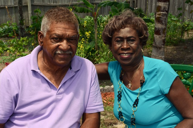 Melvin and Mary Morris, who have been married for more than 50 years, are seen in their backyard in Florida, May 22, 2013.