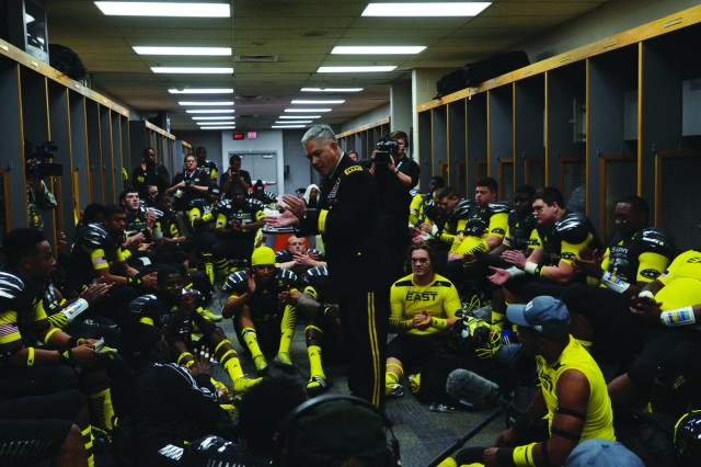 Vice Chief of Staff of the Army Gen. John Campbell gives a pep talk to the U.S. Army All-American Bowl East team in the locker room before the start of the game at the Alamodome Jan. 4.