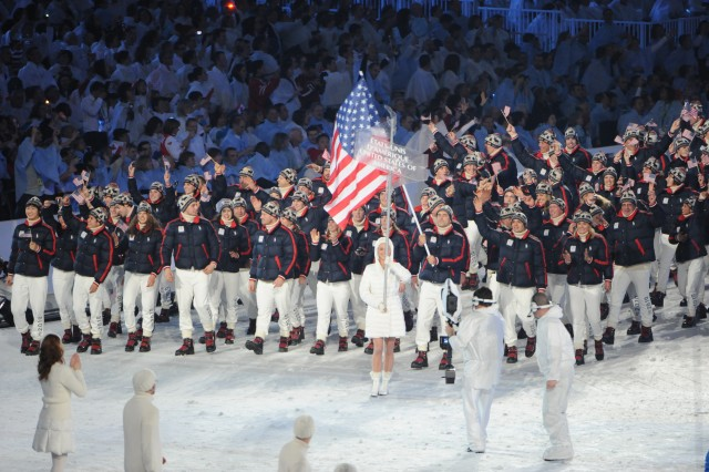 Team USA marches into BC Place Stadium in Vancouver, British Columbia, Canada, during the Opening Ceremony of the 2010 Olympic Winter Games.