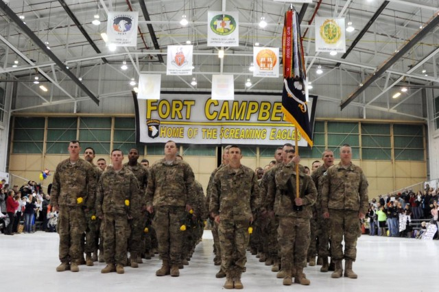 Lt. Col. Scott W. Kirkpatrick, commander of 2nd Battalion, 506th Infantry Regiment, 4th Brigade Combat Team, 101st Airborne Division (Air Assault), leads the last group of Soldiers, consisting mainly of Soldiers with Easy Company, who returned home in the early hours of Jan. 26, 2014, marking the end of an era for the brigade.