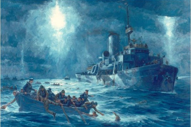 "An artist's rendering of the sinking of the USS Dorchester, a troop transport ship en route to Greenland during World War II, on which the ""Immortal"" Four Chaplains Perished."
