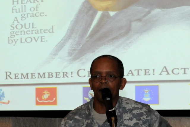 Col. Burl Randolph, an intelligence officer from the Army Sustainment Command, provides closing remarks at the conclusion of the Dr. Martin Luther King Jr. observance in Heritage Hall at Rock Island Arsenal, Ill., Jan. 23. (Photo by Sgt. 1st Class Shannon Wright, ASC Public Affairs)