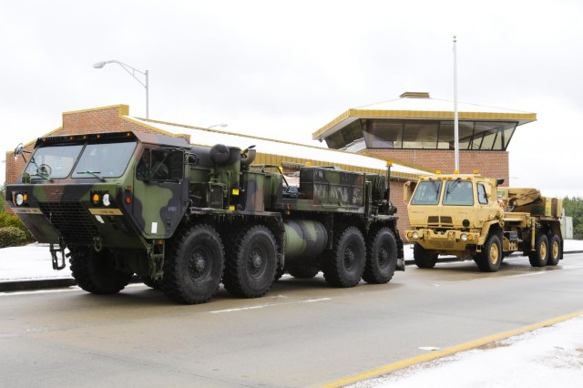 S.C. Army National Guardsmen equipped with an M984 Recovery Truck (Wrecker), a 10-ton heavy-duty wrecker designed to perform in extreme circumstances and capable of maneuvering in any type of terrain including water, snow or mud, responded when Gov. Nikki Haley declared a state of emergency by positioning crews at strategic locations throughout the state in response to Winter Storm Leon. Members of the 1118th Forward Support Company responded overnight by pulling an overturned 18-wheeler on I-95 southbound that had flipped over on its side.