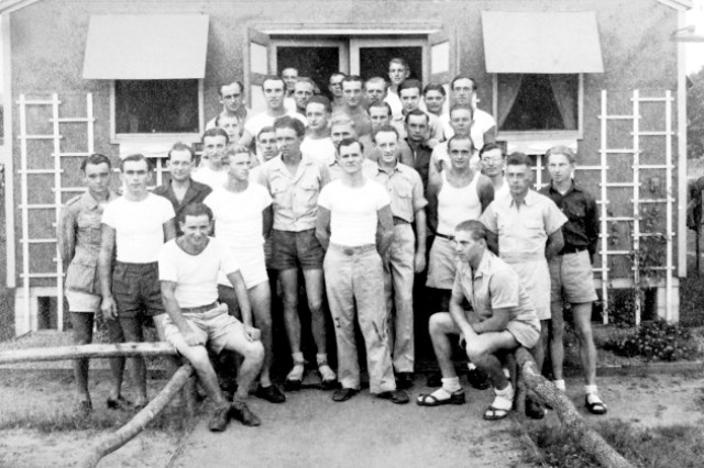 German POWs stand in front of their barracks while detained at Camp Rucker