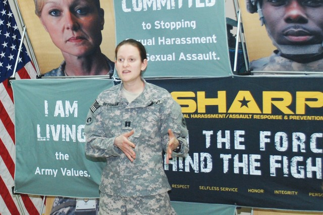 Capt. Jennifer Beerman, senior trial counsel, 1st Sustainment Command (Theater), explains her role as prosecutor and the different options available to victims.