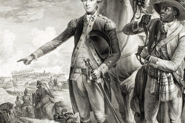 "�""Le Marquis de La Fayette,"" Engraved by Noel Le Mire, France, ca. 1775-1800. This engraving depicts the Marquis de Lafayette accompanied by his orderly, James Armistead. Property Library of Congress."
