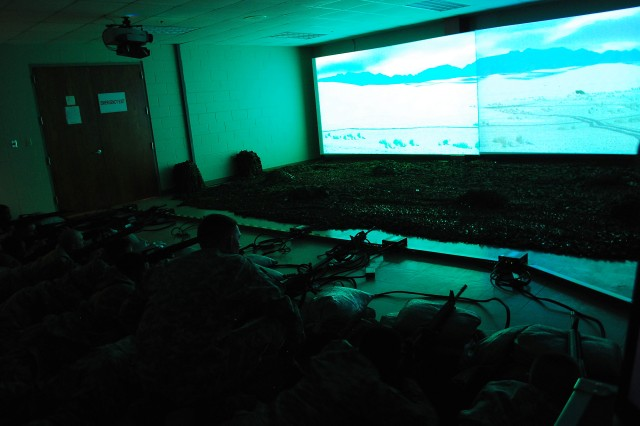 This virtual simulator will allow Cadets to practice squad tactics. The simulations can be against vehicles such as a tank, can involve insurgents on foot, and can be in any terrain. Staff at the simulation center can create several different scenarios for training. Cadets will also be able to practice basic rifle marksmanship on these simulators.