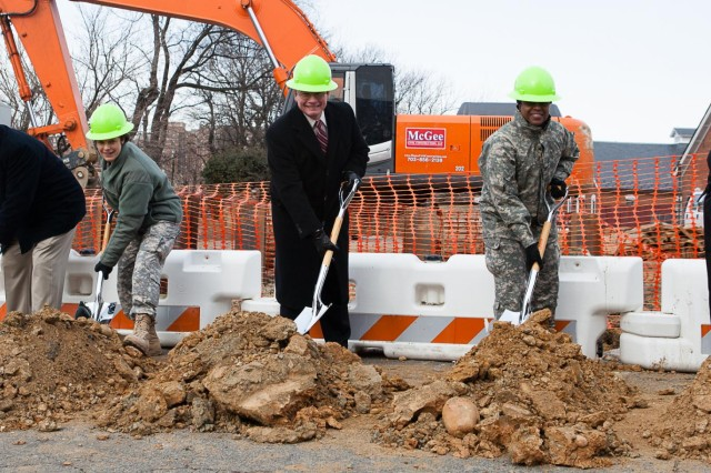 The official party for the Jan. 28 groundbreaking ceremony of the new communications building at Joint Base Myer-Henderson Hall pose for a photograph. Peter Thompson, senior vice president of Operations, Black Box Network Services Government Solutions; Col. Maria A. Biank, commander, 93rd Signal Brigade, Fort Eustis; Egon F. Hawrylak, deputy Commander (SES), Joint Force Headquarters National Capital Region and the U.S. Army Military District of Washington; Col. Fern O. Sumpter, commander, Joint Base Myer-Henderson Hall; and Lynise K. Wright, director, Network Enterprise Center, Joint Base Myer-Henderson Hall deputy director, NEC-NCR.