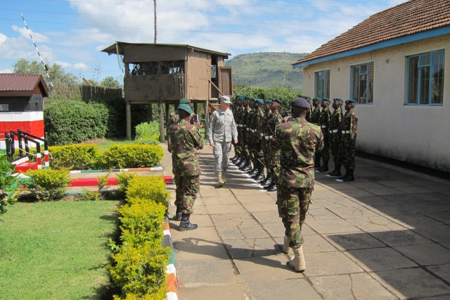 Maj. Gen. Del Turner, commanding general of the U.S. Army Security Assistance Command, conducts an inspection of the Kenyan Ranger Regiment Honor Guard, Kenyatta Barracks, as part of a recent U.S. Africa Command engagement.