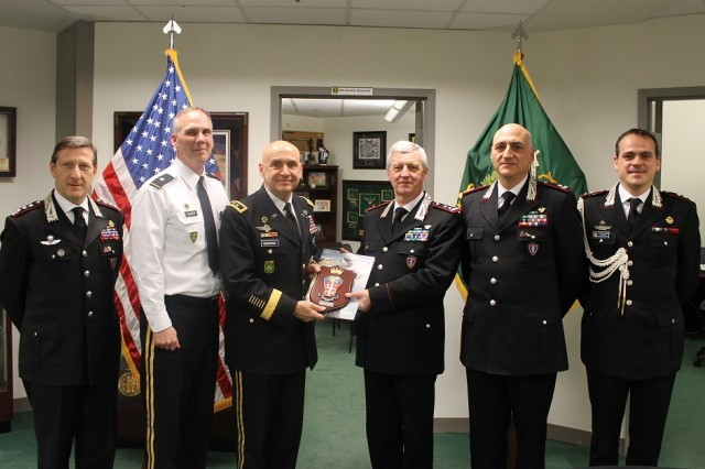 MG David Quantock, Provost Marshal General Army host an office call and gift exchange with MG Ilio Ciceri, Chief of Staff of the Carabinieri at the Pentagon Washington, D.C., February 3, 2014.   Pictured from left to right: Colonel Fabrizio Parrulli, Chief of Carabinieri General Headquarters Plans and Military Police Office,  Brigadier General Glaser Deputy Provost Marshal General, Major General Quantock Provost Marshal General, Major General Ciceri Chief of Staff of the Carabinieri, Brigadier General Enzo Bernardini, Chief of the Carabinieri Headquarters, Second Department, and Lt. Col. Francesco de Marchis, Assistant Defense Cooperation Attaché