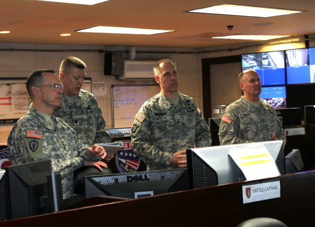 Lt. Col. Troy D. Lewis, operations officer, 1st Signal Brigade, explains the role of the Brigade Operations Center
