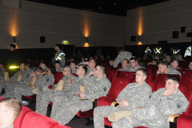 Soldiers from the 504th Battlefield Surveillance Battalion enjoy a private, big-screen viewing of Super Bowl XLVIII after three weeks intensive training at the Joint Multinational Readiness Center in Hohenfels.