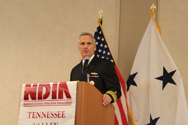 Navy Vice Adm. James Syring, director of the Missile Defense Agency, discusses his agency�'s work in support of the nation�'s missile defense strategy during a presentation Jan. 28 to members of the National Defense Industrial Association.