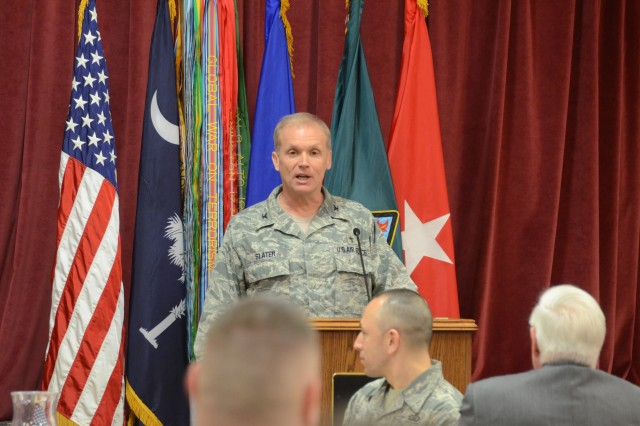 Air Force Chaplain (Col.) Douglas Slater, commandant of the Air Force Chaplain Corps College, addresses the crowd at Fort Jackson's National Prayer Breakfast as the event�'s guest speaker on the topic, 'everyone matters.'