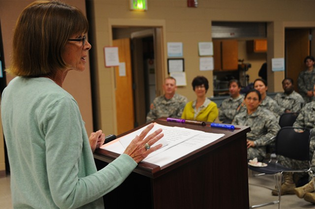 Gail Dwyer, guest speaker at last year's BEST kickoff event, speaks to Soldiers about her experiences as a West Point graduate and an early female Soldier to the Army. The next BEST meeting is Feb. 13 at the Commons, Bldg. 8950, at 4:30 p.m.  (Photo by Sara E. Martin)