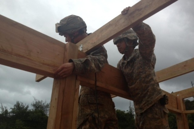 Pfc. Gerald Wood and Pfc. Oscar Garcia, both with the 2nd Platoon, 643rd Engineer Company (Vertical), 84th Engineer Battalion, work together to construct gable roof system using rafters and purlins Jan. 22-29 in remote areas throughout the Kahuku Training Area Command in support of the 25th Infantry Division's Jungle Operations Training Center. (U.S. photo by 1st Lt. Tyler Skomp, 2nd Platoon, 643rd Engineer Company (Vertical), 84th Engineer Battalion, 130th Engineer Brigade, 8th Theater Sustainment Command)