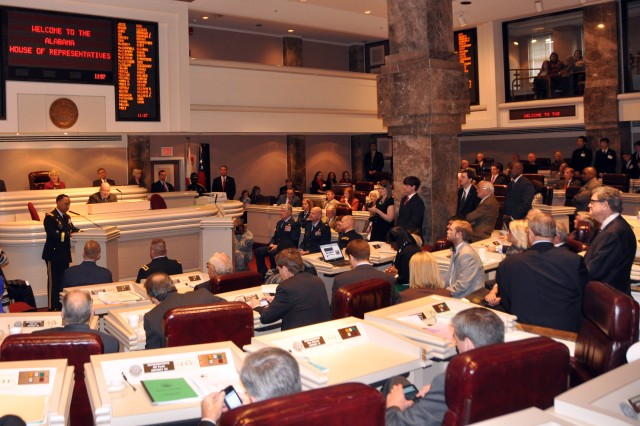 """AMC Commander Gen. Dennis L. Via speaks to members of the Alabama legislature before accepting a proclamation declaring Feb. 6, 2014 as �""""Military Appreciation Day."""""""